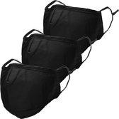iMoshion 3-Pack Herbruikbaar, wasbaar mondkapje 3-laags katoen - Zwart