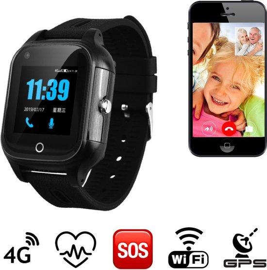 GPS horloge senior Health tracker SOS 4G Aqua Wifi Videobellen Zwart persoonlijk alarm zonder abonnement [IP67 waterdicht] incl. SIM-kaart
