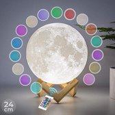 FOOCCA Maanlamp 3D - 24 cm - Tafellamp - Accu 15 tot 89 uur - Maan Lamp met 16 dimbare LED kleuren en Afstandsbediening - Extra Realistisch - Sfeerlamp, nachtlamp en leeslamp