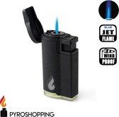 Pyroshopping Blackline stormaansteker rubber hervulbare gasaansteker zwart