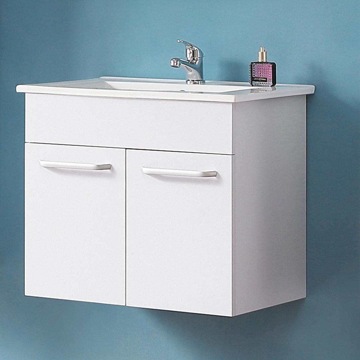 Badmeubel 60 cm Mat wit met onderbouw kast, keramiek Wastafel, Badmeubel met waskom, Badkamermeubel Set, Wastafelonderkast,
