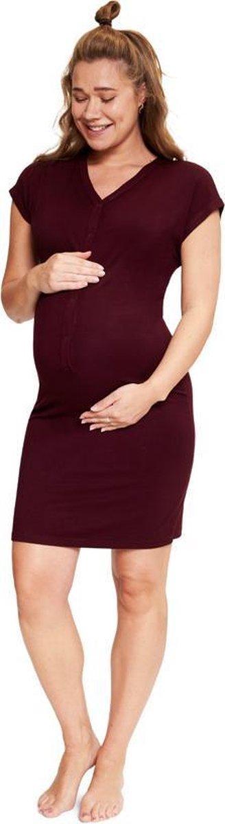 Het Bevallingsjurkje Burgundy   must have tijdens de zwangerschap, bevalling & kraamtijd S/M