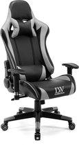 Gamestoel Zwart Grijs verstelbaar LW Collection - Verstelbare Bureaustoel - Gamingstoel - bureaustoel voor volwassenen ergonomisch - Racingstoel