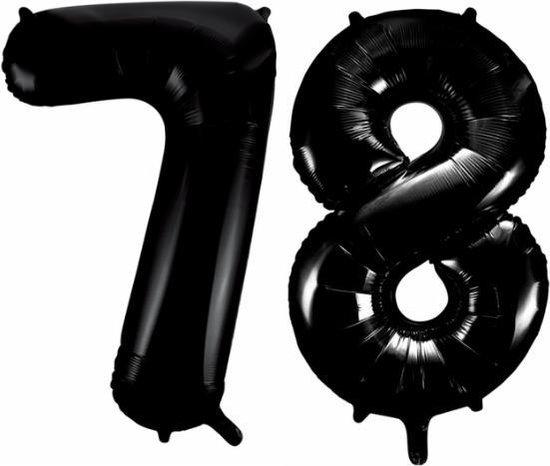 Folieballon 78 jaar zwart 86cm