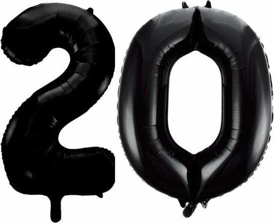 Folieballon 20 jaar zwart 86cm