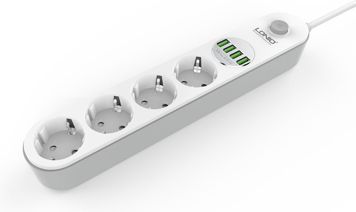 LDNIO 4-voudige stekkerdoos met 4x usb - Stekkerdoos - Stekkerdoos met USB - Snel opladen - Fast cha