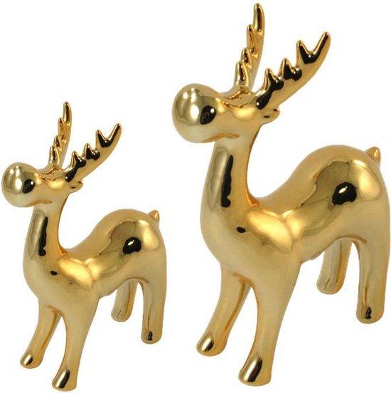 Bol Com Rendier Decoratie Set Van 2 Hoogte 16 En 22 Cm Rendier Kerst Rendier Goud
