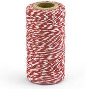 1x Rood/wit bakkerstouw 50 meter hobby materiaal - Baktouw/slagerstouw/bindtouw/keukentouw - Cadeaulint