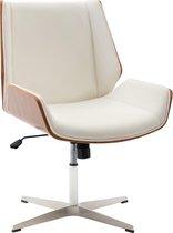 Bezoekersstoel - Bureaustoel - Tuimelfunctie - Imitatieleer - Wit