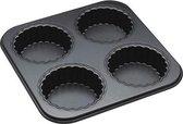 Bakvorm voor 4 mini geribbelde (quiche) vormen met losse bodem - Masterclass