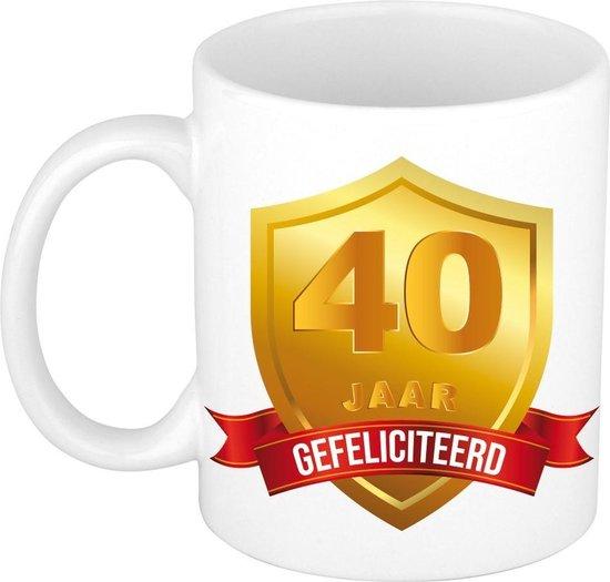 Gouden wapen 40 jaar mok / beker - verjaardag/ jubileum - cadeau 40 jaar getrouwd/huwelijksjubileum