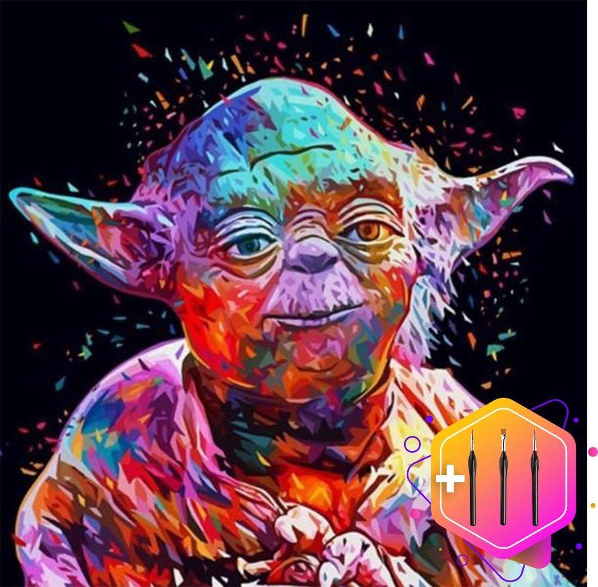 Pcasso ® Star wars Yoda - Schilderen Op Nummer - Incl. 6 Ergonomische Penselen En Geschenkverpakking - Schilderen Op Nummer Dieren - Schilderen Op Nummer Volwassenen - Canvas Schilderdoek - Kleuren Op Nummer - Paint By Number - 40x50 cm