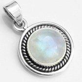 Natuursieraad -  925 sterling zilver maansteen ronde ketting hanger - luxe edelsteen sieraad - handgemaakt