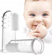 Vingertandenborstel baby, vinger tandenborstel kinderen INCLUSIEF GRATIS TRANSPARANT OPBERG DOOSJE