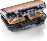 Bestron XL Tosti ijzer voor 2 Tosti's, Tosti apparat met antiaanbaklaag & indicatielampje, 1000W, kleur: koper