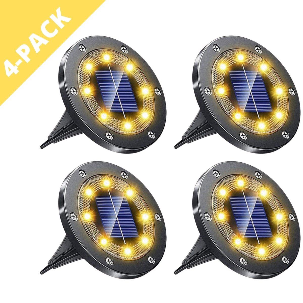 Q-Mate 4 x LED Solar Grondspot Zwart - Solar Tuinverlichting  - Buitenlamp - Tuinverlichting op Zonn