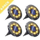 Quality Mate 4 x LED Solar Grondspot Zwart - Solar Tuinverlichting  - Buitenlamp - Tuinverlichting op Zonne-Energie