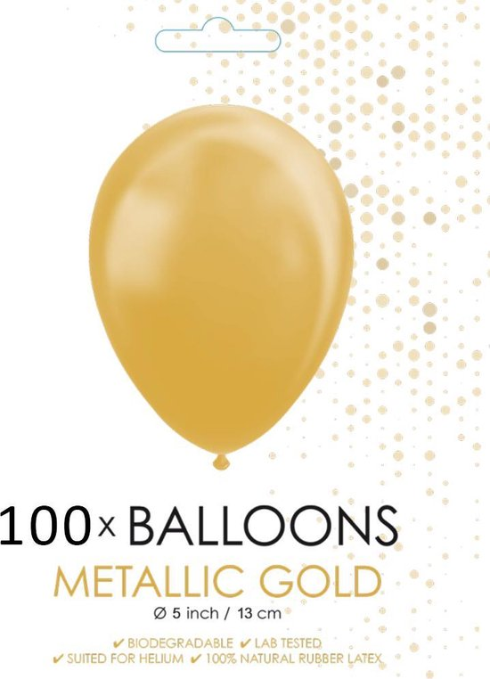 100 Kleine ballonnen metallic goud.