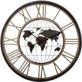 Industriële Klok met Wereldkaart 67 cm