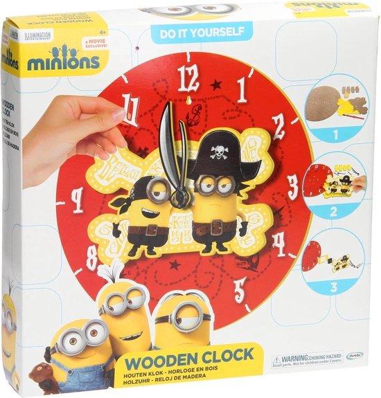 Despicable Me Minions Maak je eigen Houten Klok Knutsel set voor Kinderen – 30x30x5cm   Wandklok Maken   Knutselen voor Kinderen vanaf 4 Jaar