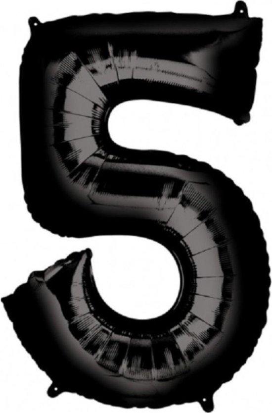 Ballon Cijfer 5 Jaar Zwart Verjaardag Versiering Zwarten Helium Ballonnen Feest Versiering 86 Cm XL Formaat Met Rietje