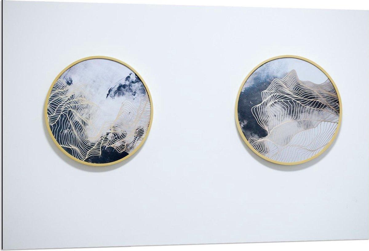 Dibond - Twee Abstracte Schilderijtjes aan de Muur  - 120x80cm Foto op Aluminium (Wanddecoratie van metaal)