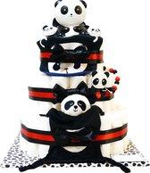 Luiertaart - Pampertaart Neutraal Panda XL - 97 Pampers – Zwart Rood