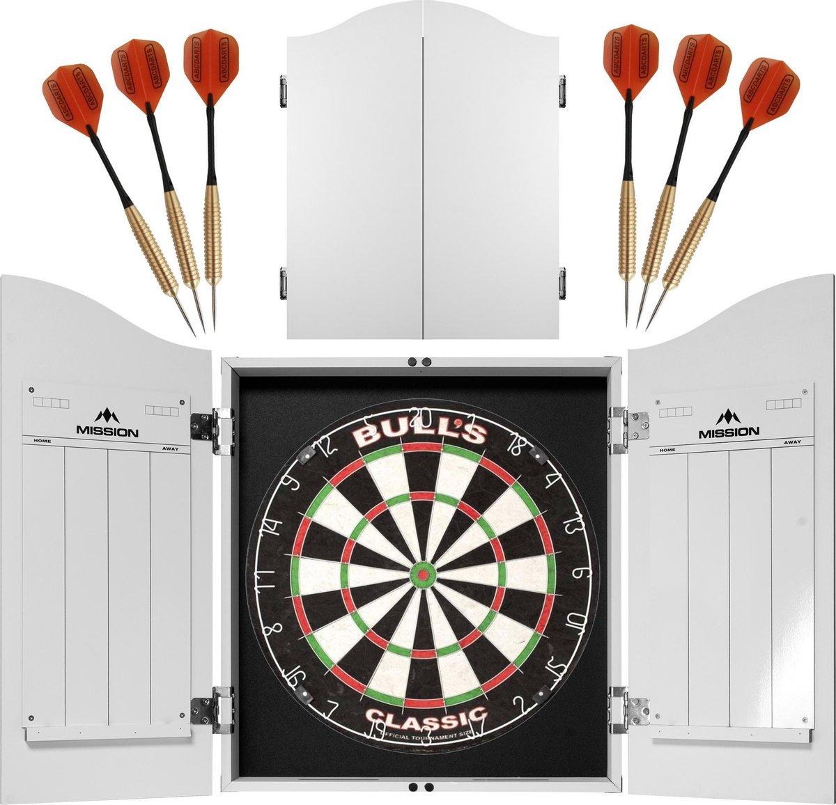 ABCDarts Dartkabinet Wit - met Dartbord en 2 sets Dartpijlen