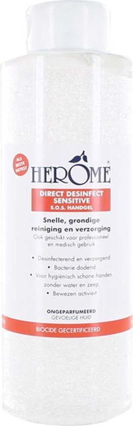 Herome Direct Desinfect Sensitive (Parfumvrij) Literfles met Pomp + 3 navulverpakkingen - 4 x 1000ml - Desinfecterende Handgel met 80% Alcohol - Beschermt Tegen Bacteriën en Droogt de Handen Niet Uit