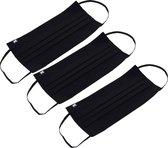 Remask Comfort - Mondkapje wasbaar - Set van 3 zwart - Herbruikbaar mondkapje - Dubbel-laags - Katoen - Mondmasker - stof - Duurzaam - Mask