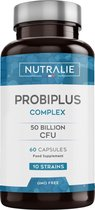NUTRALIE Probiotica 50 miljard KVE per dosis | 10 Effectieve, Natuurlijke Bacteriestammen in 60 vegan capsules | Darmflora verbeteren | Probiotica complex