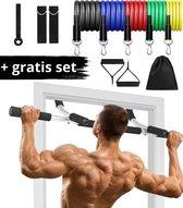 Luxergoods body workout bar - Inclusief Weerstandsbandenset - Optrekstang - Pull up bar - Fitness - 60 t/m 80 cm breedte