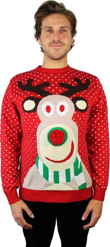 JAP Foute kersttrui - Rudolf met 3D neus voor volwassenen - Dames en heren - S - Rood - JAP Christmas