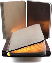 Boeklamp Hout Inclusief Boeklampje/Leeslampje met klem - Met 5 lichtkleuren en Dimfunctie - USB oplaadbaar- Boek Lamp Esdoorn wit hout 21.5x17 cm