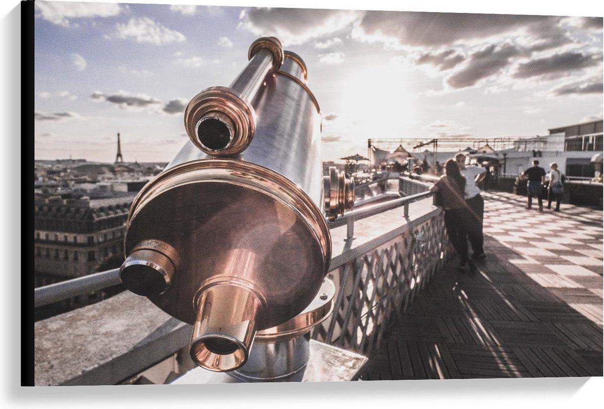 Canvas  - Verrekijker in Parijs bij Eiffeltoren - 90x60cm Foto op Canvas Schilderij (Wanddecoratie op Canvas)