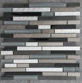 Mozaiek tegel zwart glas aluminium