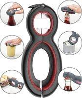Dayshake® Multifunctionele opener - 6 in 1 Opener - Dekselopener - Allesopener - Bieropener - Opener voor potten - Potopener