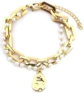 Dielay - Armband Dames - Schakels en Parels - Lengte Verstelbaar 17-22 cm - Goudkleurig