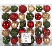 60x Kerstbal Rood Groen Goud -  kunststof kerstballen 6/7 cm - Glans - Onbreekbare plastic kerstballen - Kerstboomversiering