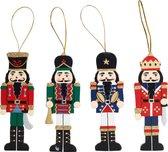 Notenkrakers als kerstboomhangers | set van 4 stuks | 13 cm hoog