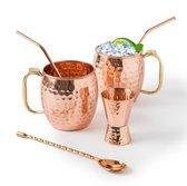 Moscow Mule Bekers - Inc. 2 Rietjes, Jigger en Roerlepel - 6-Delige Cocktail Set - Cocktail Glazen - Koperen Beker