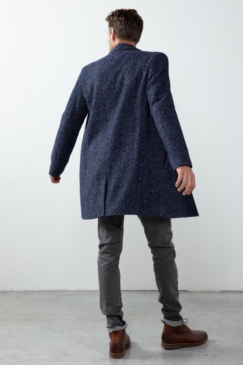 Sissy-Boy - Donkerblauwe wollen jas herringbone