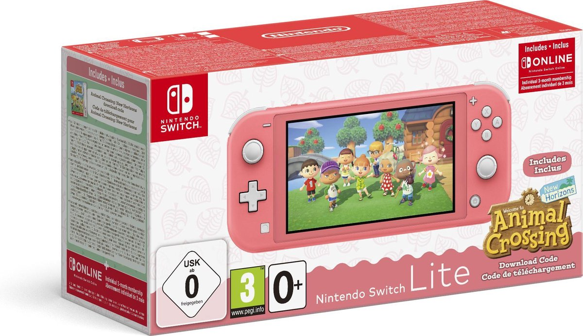 Nintendo Switch Lite Coral Incl. Animal Crossing: New Horizons & Nintendo Switch Online - Limited Ed