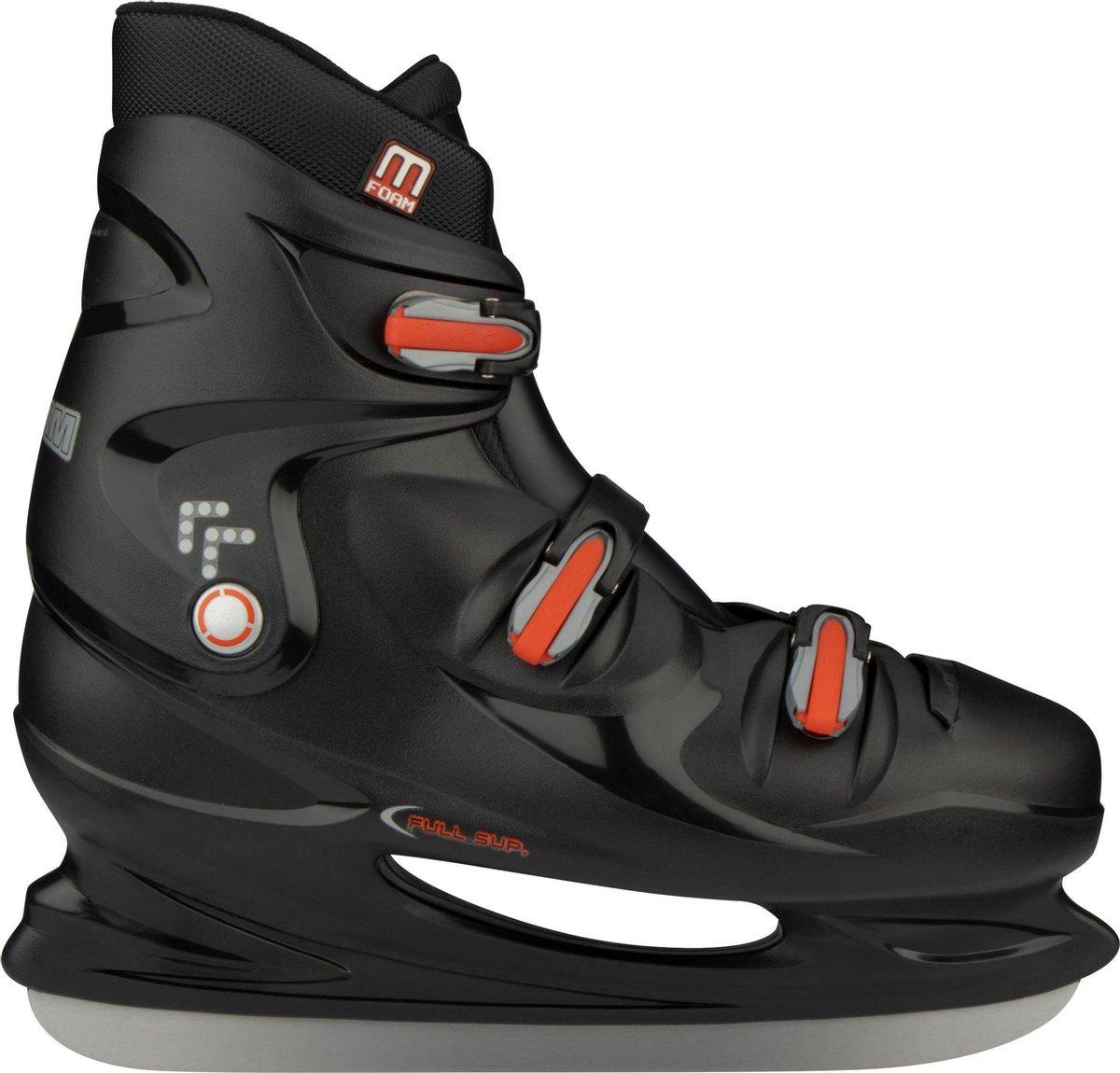 Nijdam IJshockeyschaats XXL - Hardboot - Zwart/Zilver/Rood - 48