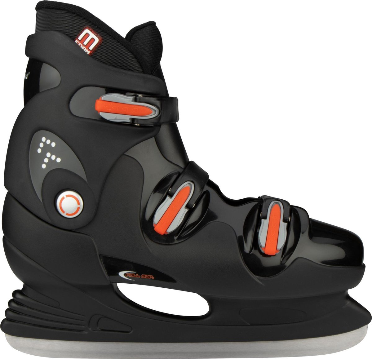 Nijdam IJshockeyschaats - Hardboot - Zwart/Zilver/Rood - 40