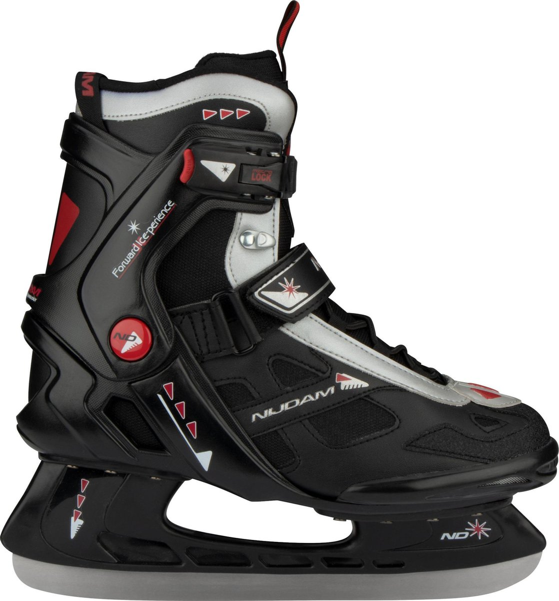 Nijdam IJshockeyschaats - Semi-Softboot - Zwart/Zilver/Rood - 40