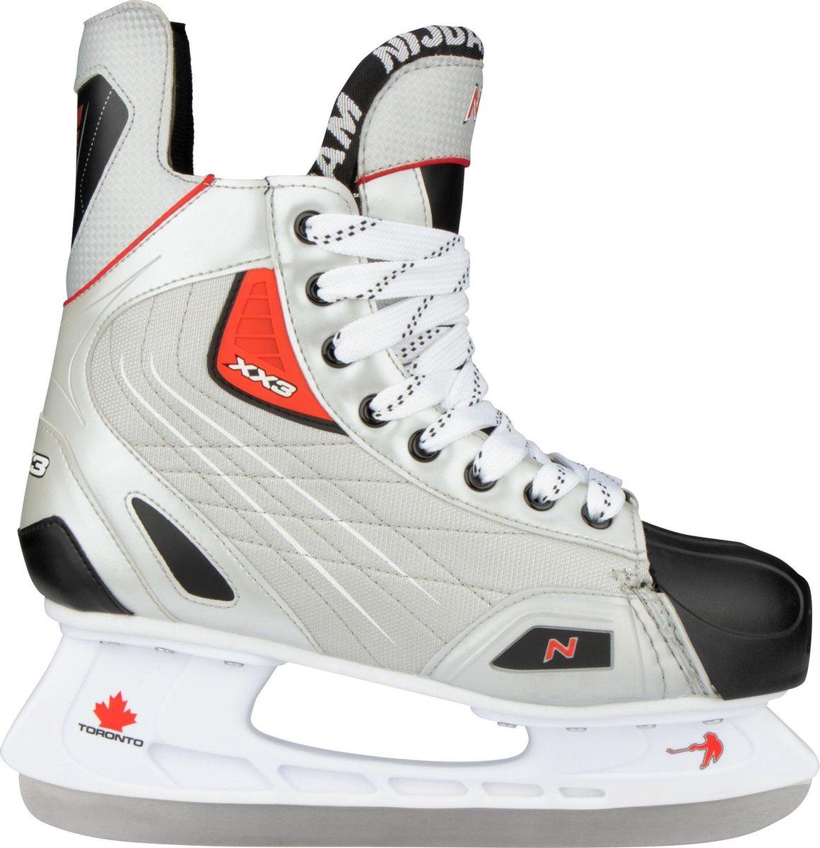 Nijdam IJshockeyschaats Polyester - Deluxe - Zilver/Zwart/Rood - 46