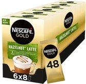 Nescafé Gold Hazelnoot Latte oploskoffie - 6 doosjes à 8 zakjes
