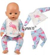 Poppenkleertjes - geschikt voor Baby Born - pyjama - flamingo - blauw, roze - slaapkleding - nachtkleding
