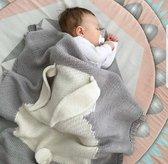 BonBini's® babydeken - Luxe wiegdeken Konijn - One Size - 75X105CM- Unisex - Antraciet